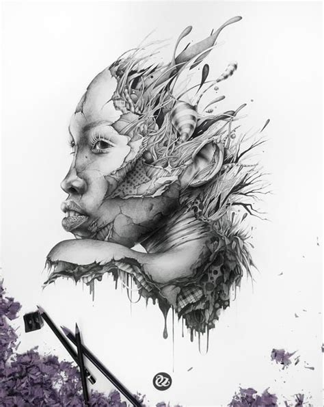 Torn Fabric Flesh Sketches (UPDATE) : graphic pencil drawings