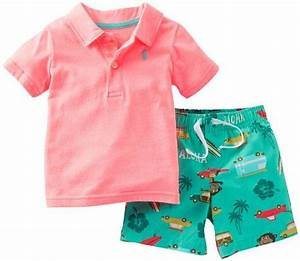 Carters Boys Baby Aloha Polo & Short Set neon and cute