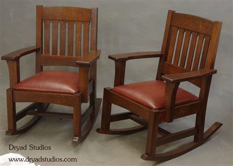 stickley mission arts crafts style rocking chairs by