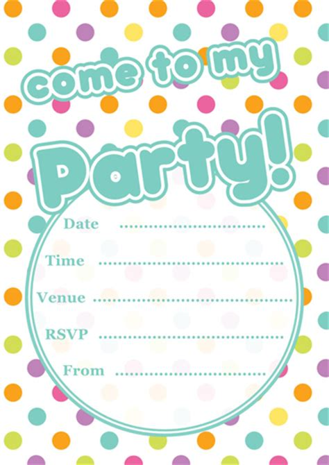 printable polka dot party invitations template