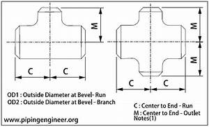 Butt Weld Reducing Tees And Crosses Inch Dimensions As Per