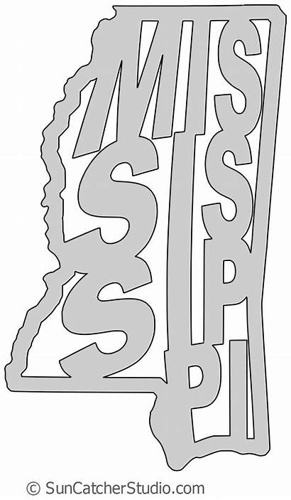 Mississippi Outline State Shape Scroll Saw Pattern