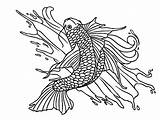 Fish Koi Drawing Coloring Water Coy Pond Colornimbus Tattoo sketch template