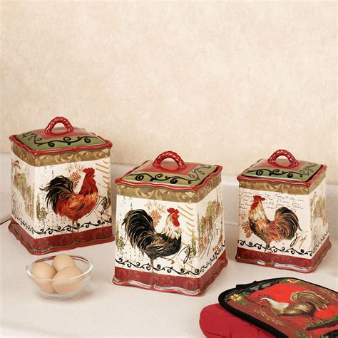 rooster kitchen canister sets beautiful cheap rooster decor for kitchen also ideas
