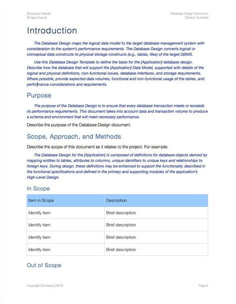 Database Documentation Template by Database Design Template Apple Iwork Pages Data Model