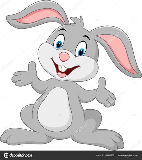 Caricatura lindo conejo posando Imagen Vectorial de