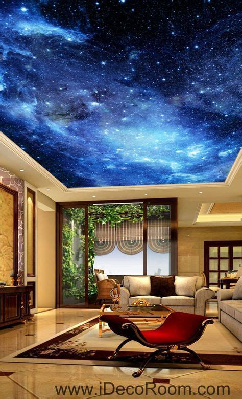 galaxy stars night sky  ceiling wall mural wall paper decal wall art print decor kids