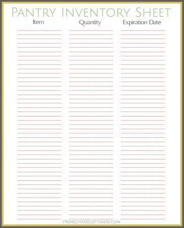 printable pantry inventory sheet pantry inventory