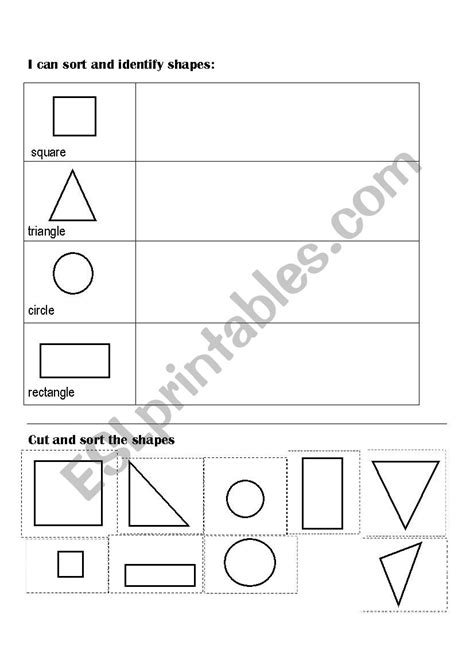 sort and classify shapes cut and paste esl worksheet