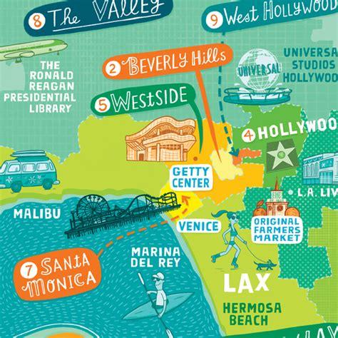 los angeles tourist map linzie hunter illustrator