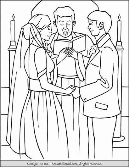 Coloring Catholic Sacrament Marriage Sacraments Pages Baptism
