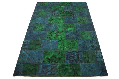 patchwork teppich gruen blau tuerkis  xcm