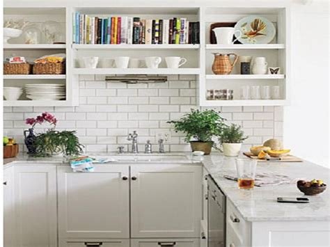 Open Kitchen Shelves Inspiration : Small White Country Kitchen Inspirations Listed In