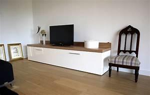 Meuble Tv Blanc Laqué Et Bois : l 39 atelier util placard meuble tv laqu blanc sur mesure b ziers fabricant mobilier h rault ~ Teatrodelosmanantiales.com Idées de Décoration