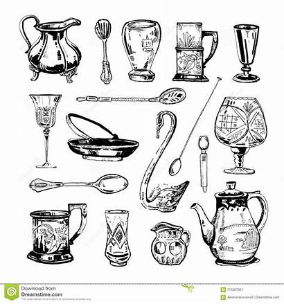 Dishes Drawn Glasses Metall Ink Antique Glass