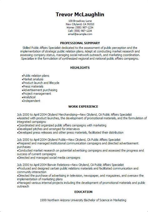 Community Development Specialist Resume by Professional Affairs Specialist Templates To