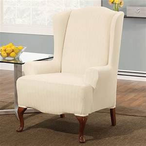 Cream Wingback Chair Slipcover With Striped Pattern