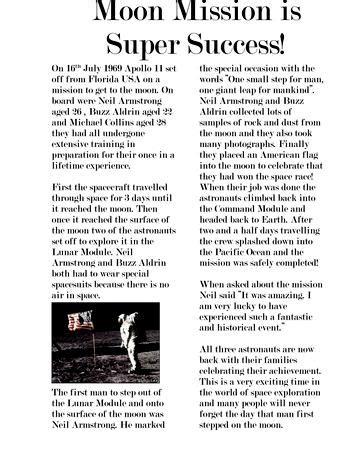 writing  newspaper article ks template