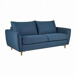 Canapé Tissu Bleu : hugo canap 3 places convertible en tissu bleu habitat ~ Teatrodelosmanantiales.com Idées de Décoration