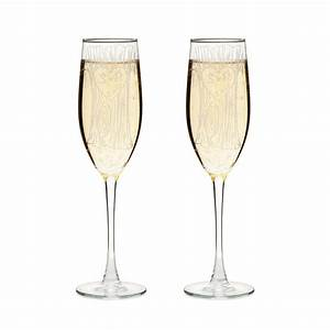 ETCHED CHAMPAGNE FLUTES - SET OF 2 custom glass