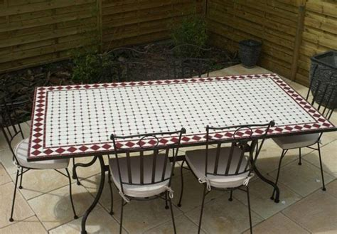 table jardin mosaique ovale 300cm table rectangle plus consoles c 233 ramique blanche et ses