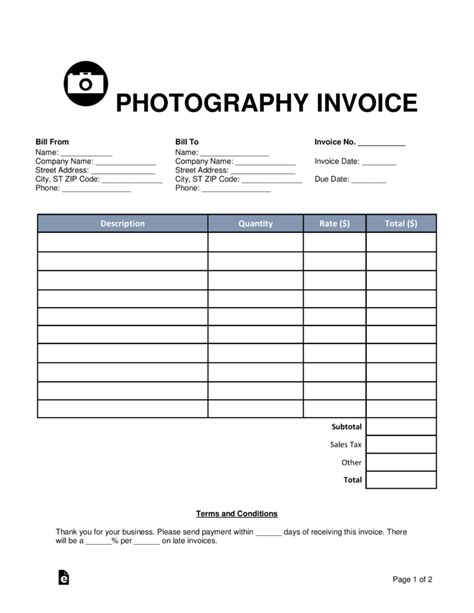 photography invoice template word  eforms