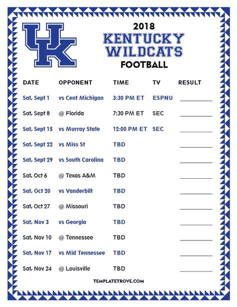 printable  kentucky wildcats football schedule