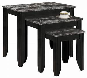 Nesting table 3pcs set black gray marble top for Grey marble coffee table set