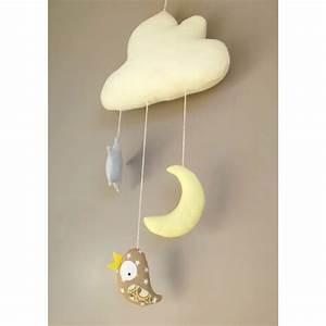 Mobile Chambre Bébé : mobile fait main oiseau toile suspendus un nuage pour d corer la chambre de b b avec ~ Teatrodelosmanantiales.com Idées de Décoration