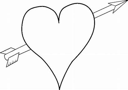 Coloring Heart Valentine Valentines Pages Printable Arrow
