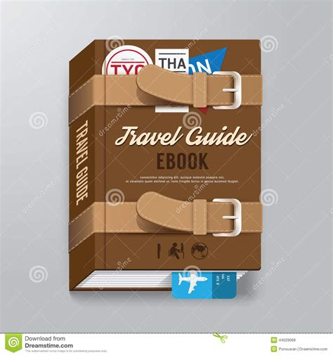 book cover travel guide design luggage concept template