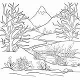 Mountain Landscape Coloring Nature Pages Printable Adult Adults Pond Cute Park sketch template