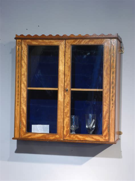 Georgian display cabinet, antique wall hanging cabinet