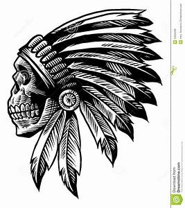 Skull Indian Chief In Hand Drawing Style Stock Vector ...
