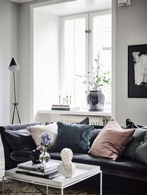 decorating  velvet  home living room grey living