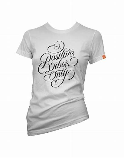 Vibes Positive Lettering Womens Shirt Tees Lifestyle