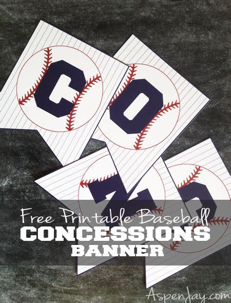 Free Printable Baseball Concessions Banner