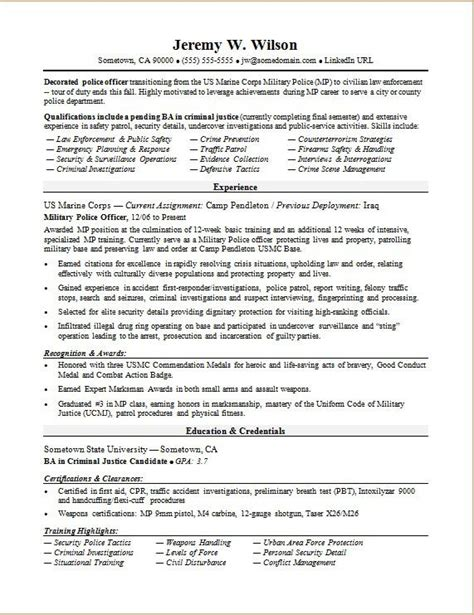 police officermilitary  civilian resume sample