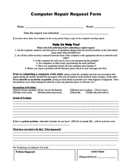 sample repair request forms  ms word