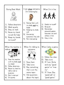 social skills reminder cards  lisa parnello teachers