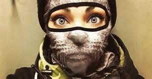 animal balaclavas turn skiers into cats and lions