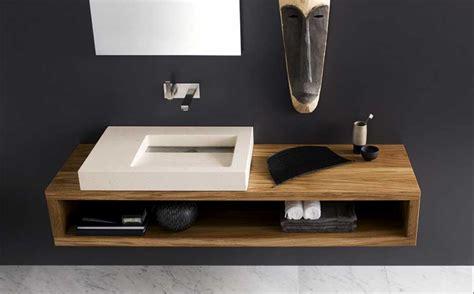 Badezimmer Unterschrank Holz Hängend by Waschtisch Modern Holz Mit Keramik Waschbecken Und