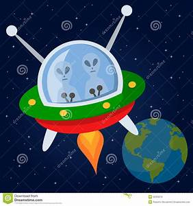 Aliens Flying With Spacecraft In The Space Stock Vector ...