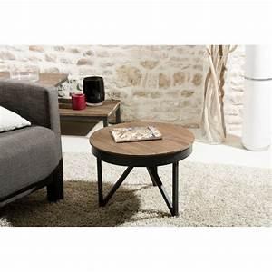 Table D Appoint Gigogne : table basse ronde d 39 appoint 50 x 50 cm bois et m tal dpi import ~ Teatrodelosmanantiales.com Idées de Décoration