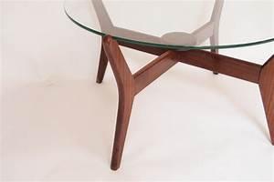 Table Basse En Verre Ronde : table basse ronde scandinave en verre et teck 1960 design market ~ Teatrodelosmanantiales.com Idées de Décoration