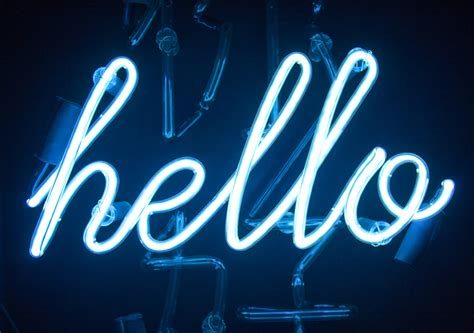 blue aesthetic neon words