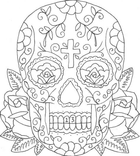 coloring page skull sugar mexican candy candy skull