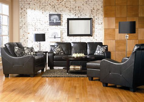 modern leather living room  black