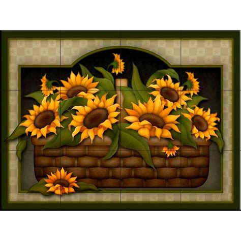 The Tile Mural Store Sunflower Basket 24 In X 18 In