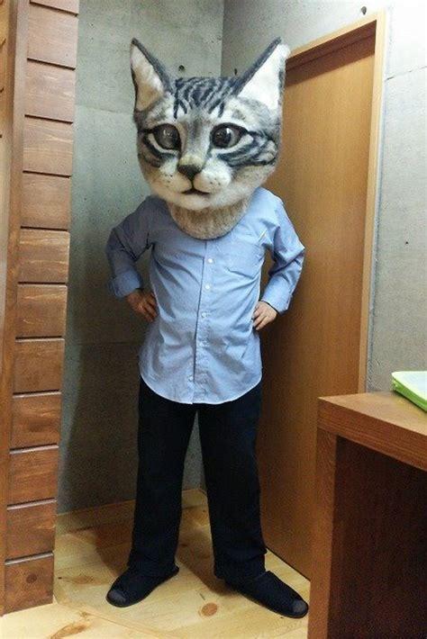 meow meow meow meow giant realistic cat head mask